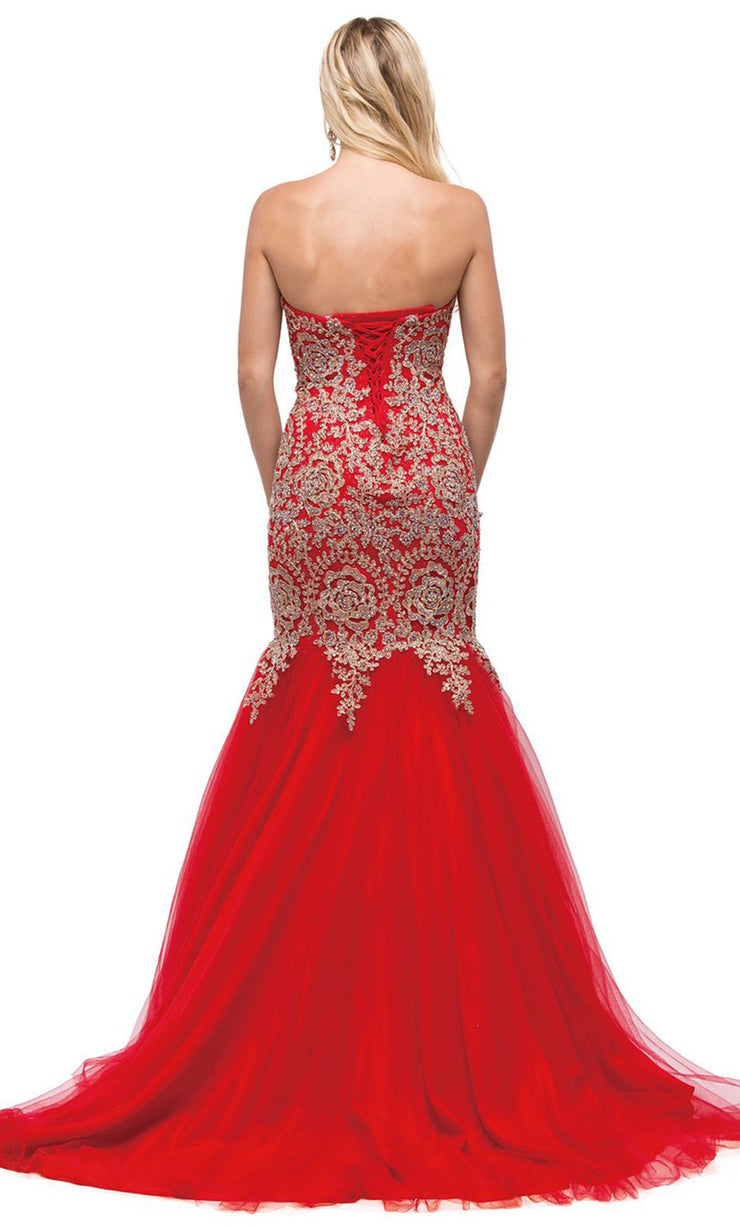 Dancing Queen - 9932 Strapless Beaded Lace Applique Mermaid Gown In Red