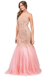 Dancing Queen - 9932 Strapless Beaded Lace Applique Mermaid Gown In Pink