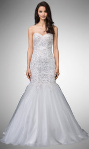 Dancing Queen - 9932 Strapless Beaded Lace Applique Mermaid Gown In White & Ivory