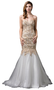 Dancing Queen - 9932 Strapless Beaded Lace Applique Mermaid Gown In Champagne & Gold