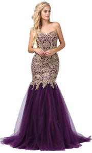 Dancing Queen - 9932 Strapless Beaded Lace Applique Mermaid Gown In Purple