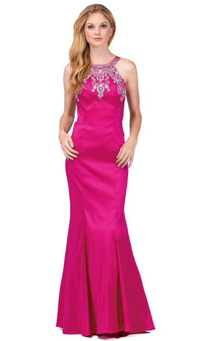 Dancing Queen - 9943 Rhinestone Accented Halter Mermaid Dress In Pink