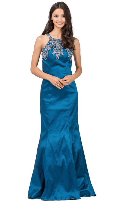 Dancing Queen - 9943 Rhinestone Accented Halter Mermaid Dress In Blue