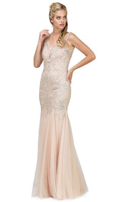 Dancing Queen - 9978 Sleeveless V Neck Crystal Trumpet Gown In Neutral