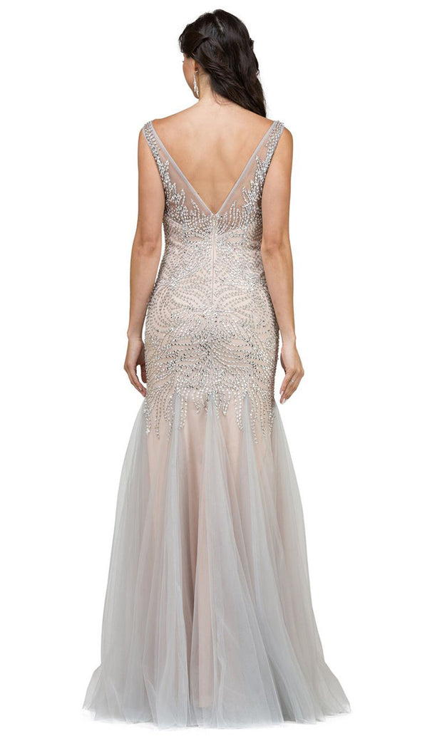 Dancing Queen - 9978 Sleeveless V Neck Crystal Trumpet Gown In Silver