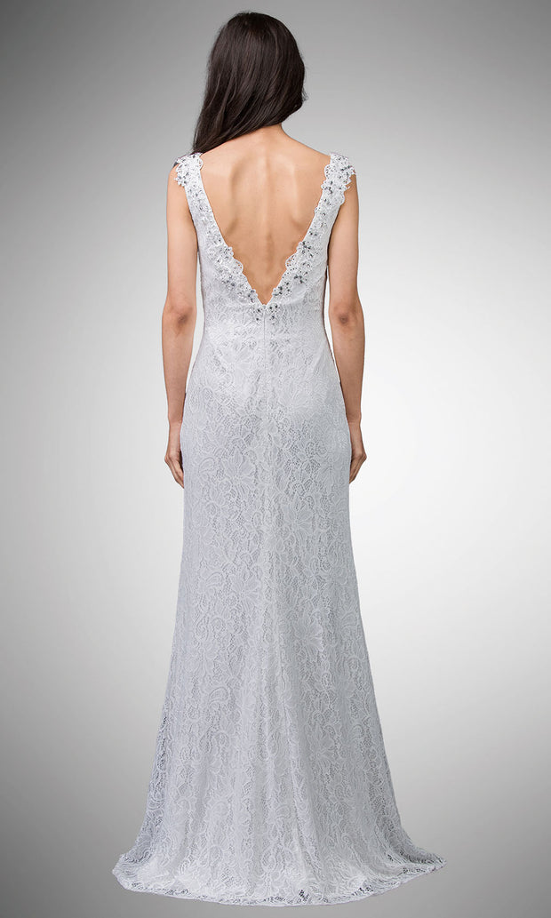 Dancing Queen - 9981 Embellished Low V-Back Dress In White