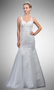 Dancing Queen - A7001 Halter Embraided Trumpet Gown In White