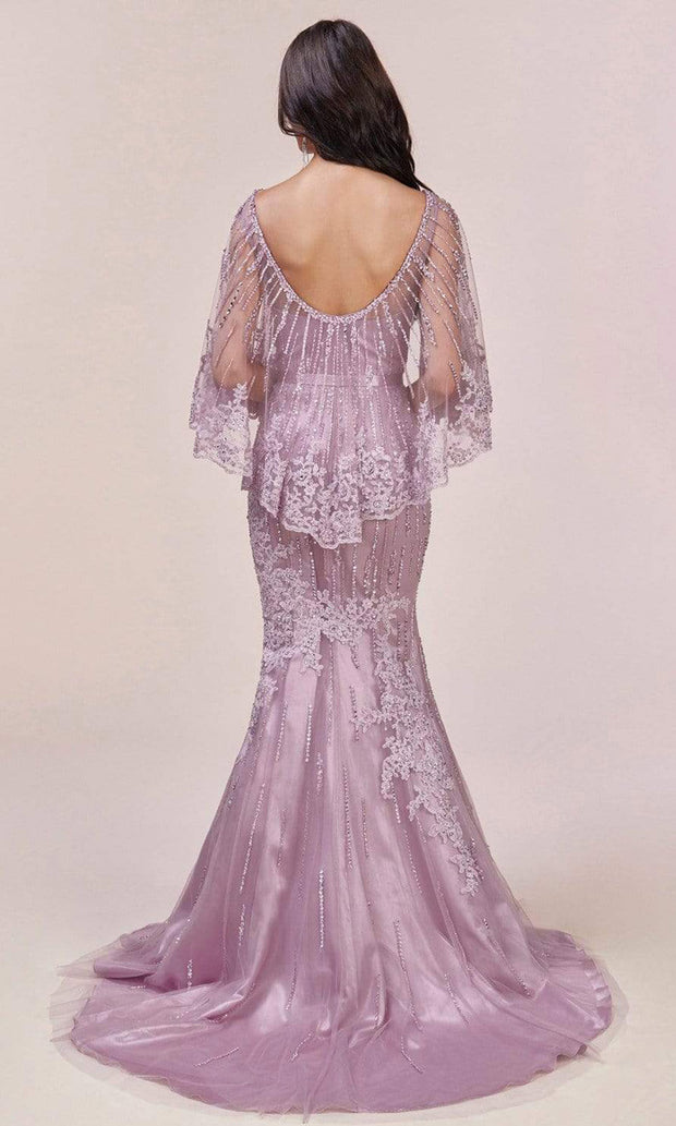 Andrea and Leo - 5263 Beaded Lace Illusion Cape Gown In Purple