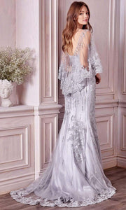 Andrea and Leo - 5263 Beaded Lace Illusion Cape Gown In Silver and Gray
