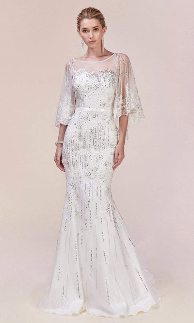 Andrea and Leo - 5263 Beaded Lace Illusion Cape Gown In White