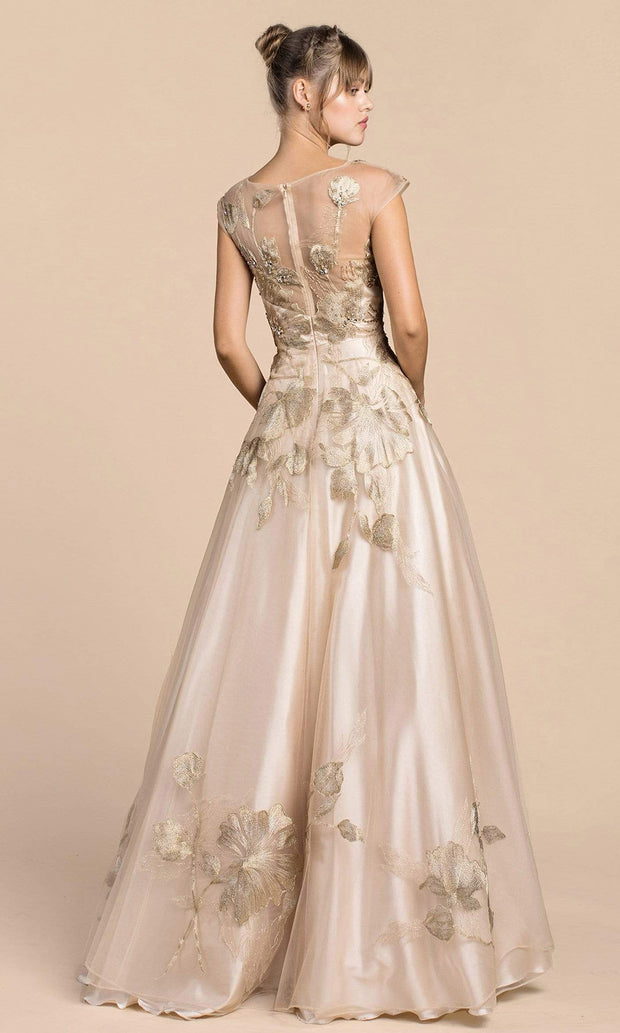 Andrea and Leo - A0081 Luxurious Floral Embroidered Gown In Gold