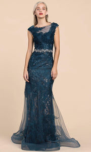 Andrea and Leo - A0225 Lace Mermaid Gown With Beaded Belt In Blue