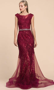 Andrea and Leo - A0225 Lace Mermaid Gown With Beaded Belt In Burgundy