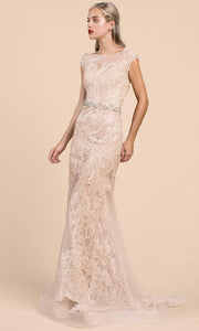 Andrea and Leo - A0225 Lace Mermaid Gown With Beaded Belt In Champagne and Gold