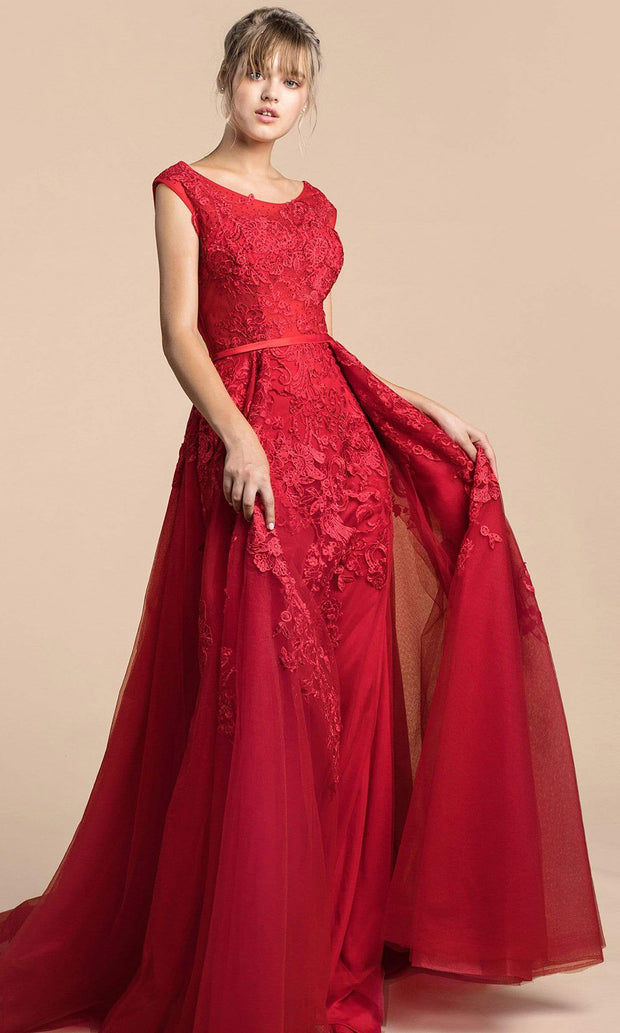 Andrea and Leo - A0257 Jewel Neck Embroidered Long Dress