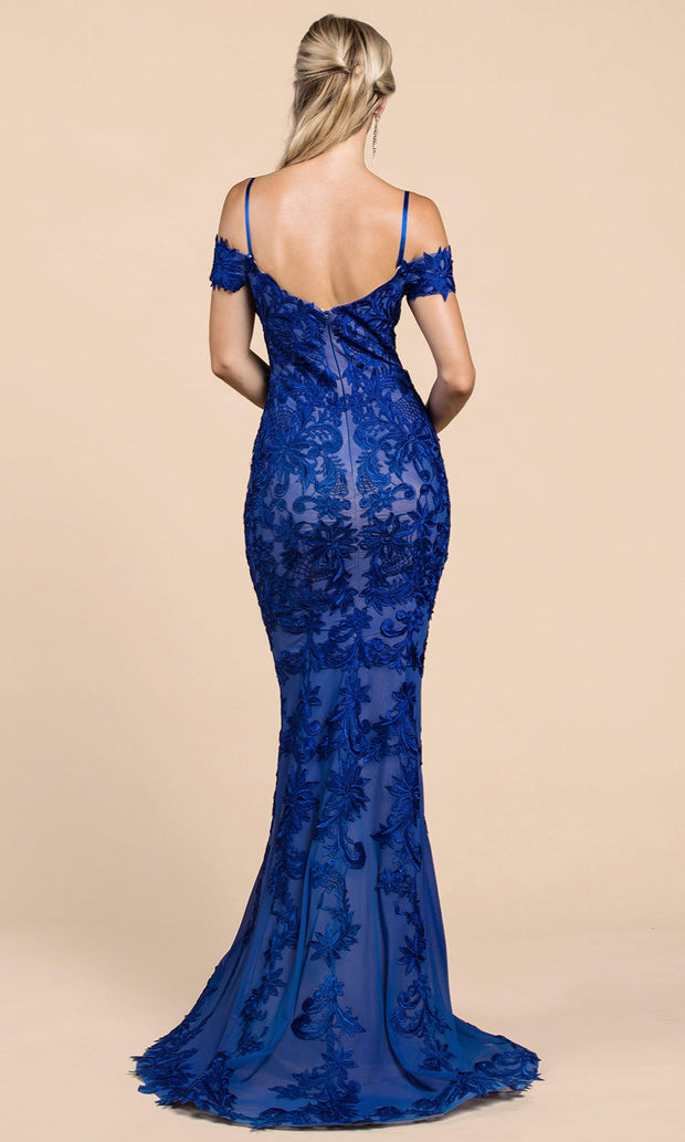 Andrea and Leo - A0258 Long Embroidered Mermaid Dress In Blue