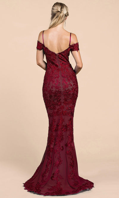 Andrea and Leo - A0258 Long Embroidered Mermaid Dress In Red