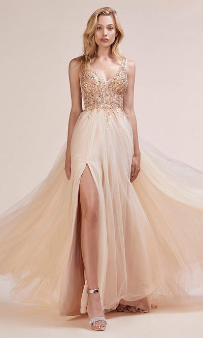 Andrea and Leo - A0391 Beaded Illusion Bodice High Slit Gown In Champagne and Gold