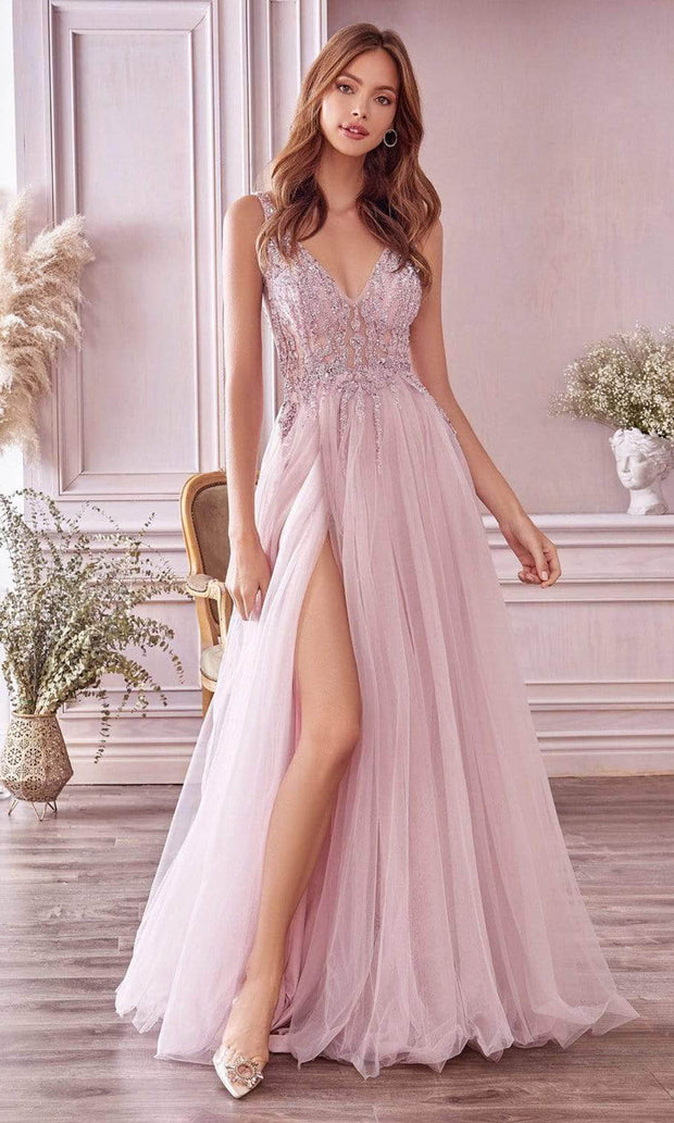 Andrea and Leo - A0391 Beaded Illusion Bodice High Slit Gown In Purple