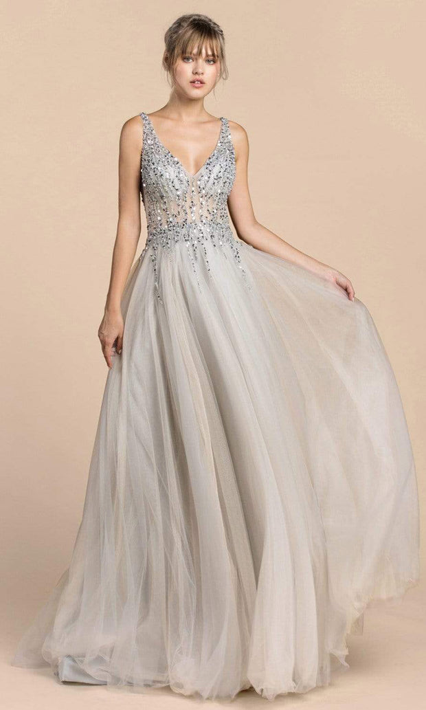 Andrea and Leo - A0391 Beaded Illusion Bodice High Slit Gown In Silver and Gray