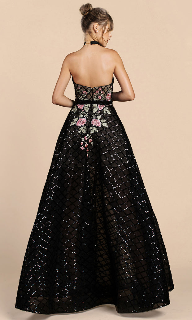Andrea and Leo - A0393 Strapless Lattice Floral A-Line Dress In Black