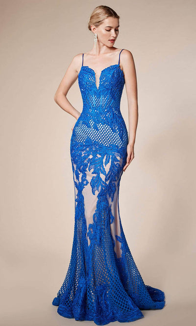 Andrea and Leo - A0408 Sweetheart Net-Like Sheath Dress In Blue