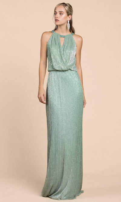 Andrea and Leo - A0500 Shimmering Blouson Column Dress In Green