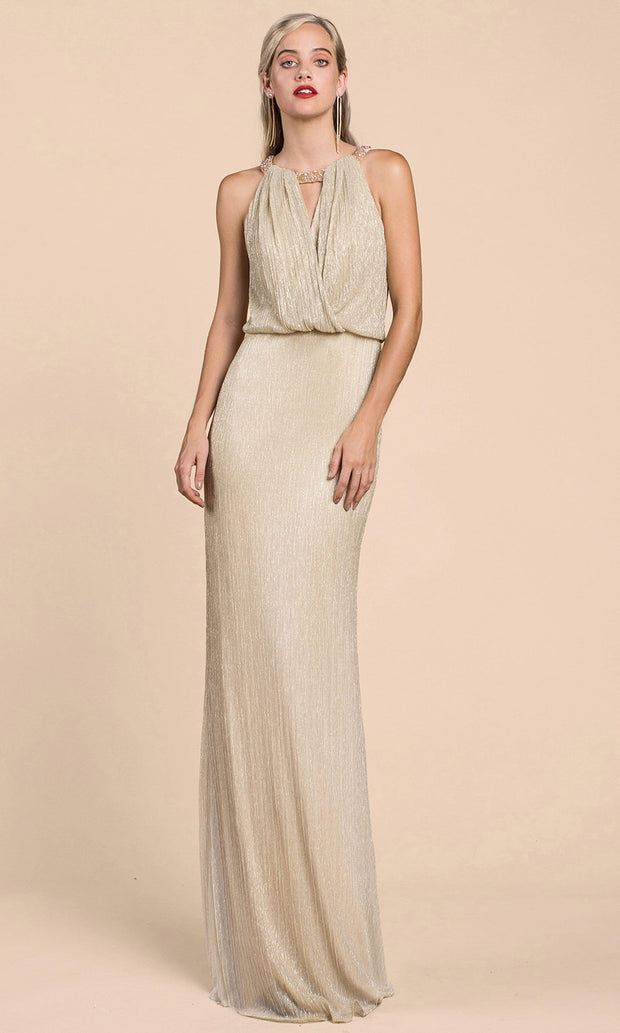 Andrea and Leo - A0500 Shimmering Blouson Column Dress In Neutral