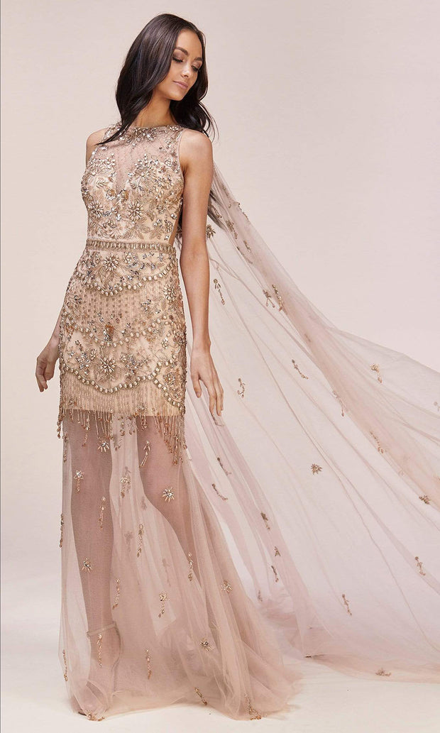 Andrea and Leo - A0520 See Through Mesh Cape Dress In Gold