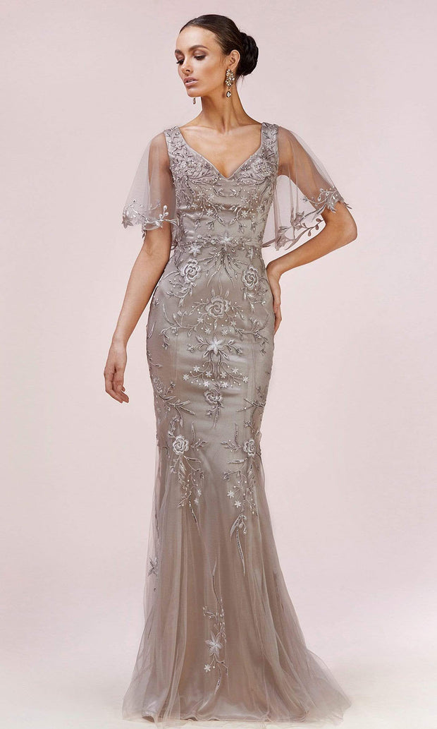 Andrea and Leo - A0553 Bell Sleeve Embroidered Long Dress In Silver