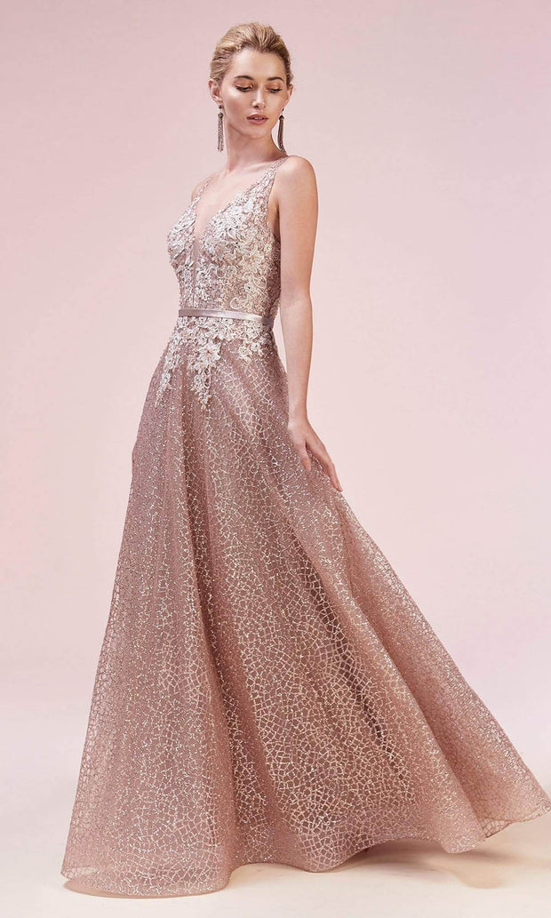 Andrea and Leo - A0568 Open V Back Glittered Gown In Gold