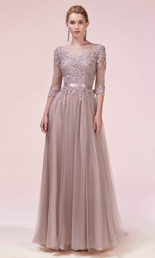 Andrea and Leo - A0571 Beaded Applique Tulle Dress In Pink