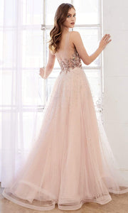 Andrea and Leo - A0585 Confetti Beaded A-Line Dress In Pink