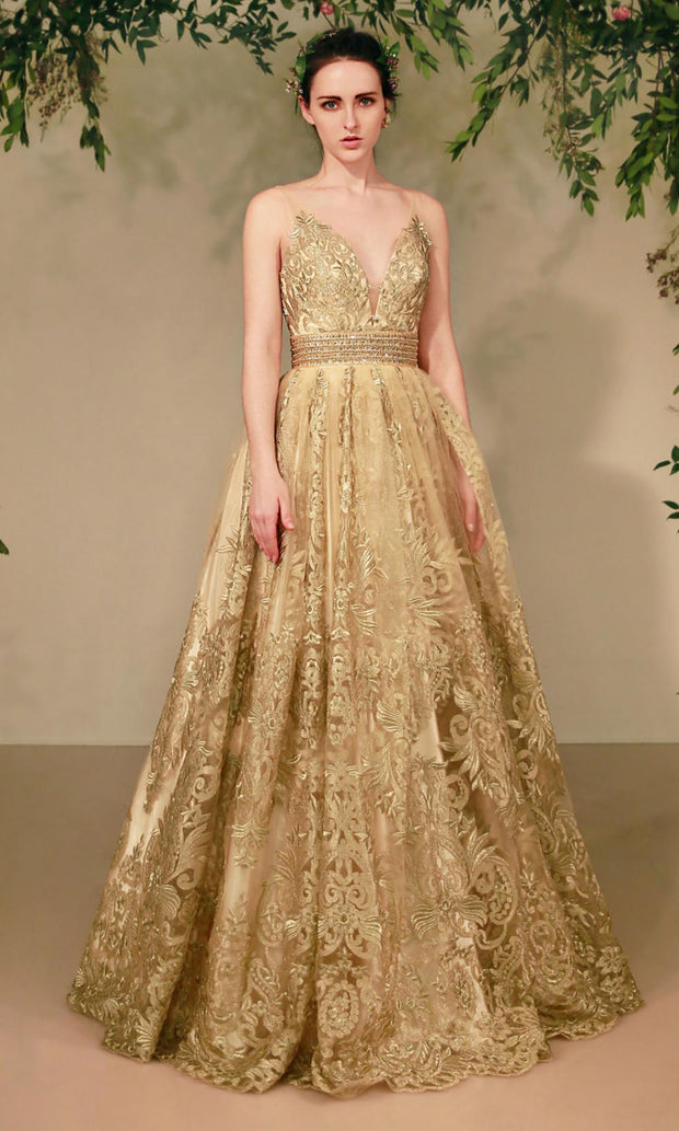 Andrea and Leo - A0620 Illusion V Neck Beaded Waist Gown In Gold