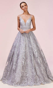 Andrea and Leo - A0620 Illusion V Neck Beaded Waist Gown In Silver