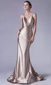 Andrea and Leo - A0632 Double Strapped Satin Evening Gown In Gold