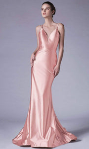 Andrea and Leo - A0632 Double Strapped Satin Evening Gown In Pink