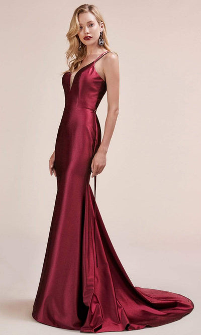 Andrea and Leo - A0632 Double Strapped Satin Evening Gown In Red
