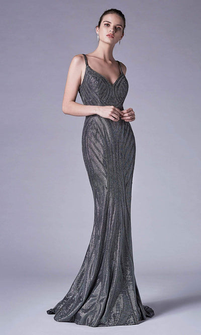 Andrea and Leo - A0646 Beaded Sheath Jacquard Dress In Silver and Gray