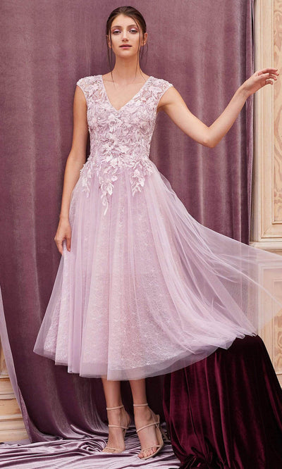 Andrea and Leo - A0687S Floral Embroidered Cutout Dress In Purple