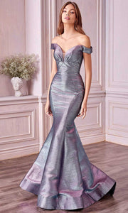 Andrea and Leo - A0725 Plunged Off-Shoulder Metallic Mermaid Gown In Blue