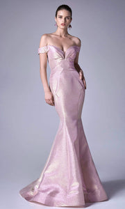 Andrea and Leo - A0725 Plunged Off-Shoulder Metallic Mermaid Gown In Pink