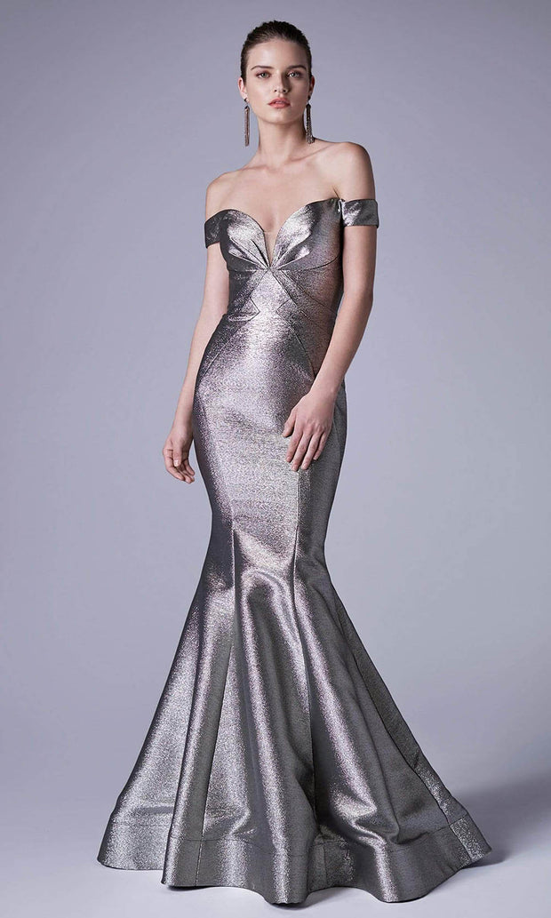 Andrea and Leo - A0725 Plunged Off-Shoulder Metallic Mermaid Gown In Silver