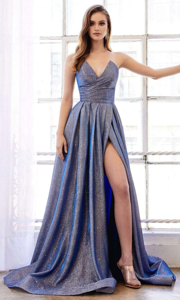Andrea and Leo - A0734 Strapless Peak V-Neck A-Line Glitter Gown In Blue