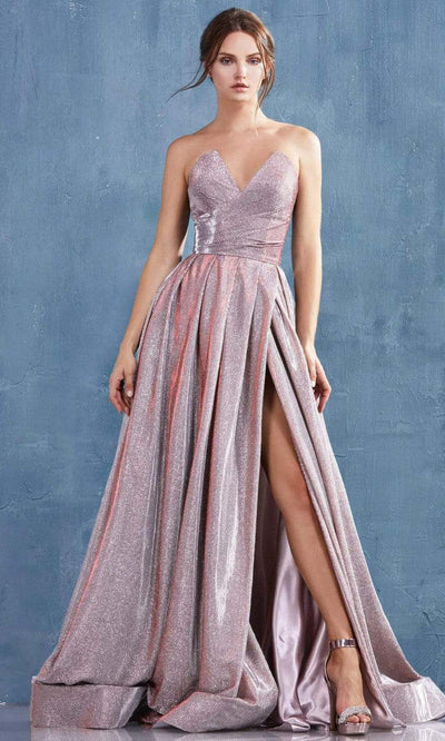 Andrea and Leo - A0734 Strapless Peak V-Neck A-Line Glitter Gown In Pink
