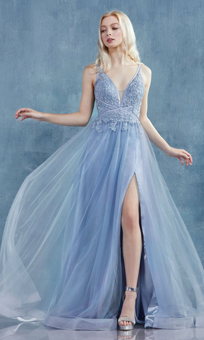 Andrea and Leo - A0762 Floral Lace Plunged V-Neck Tulle Gown In Blue