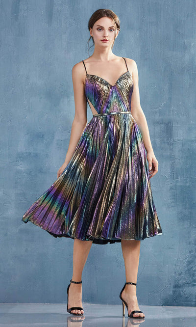 Andrea and Leo - A0864 Holographic Shimmer Pleated Dress In Multi