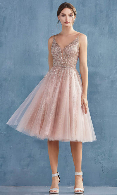 Andrea and Leo - A0867 V Neck Glittered Knee Length Dress In Pink
