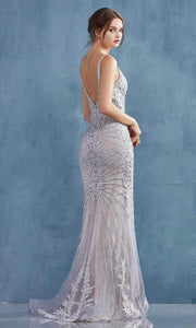 Andrea and Leo - A0877 Sunburst Beaded Mermaid Dress In Silver and Gray
