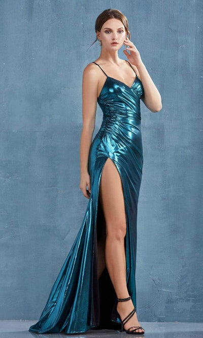 Andrea and Leo - A0921 Fitted Metallic Lame High Slit Sheath Gown In Blue